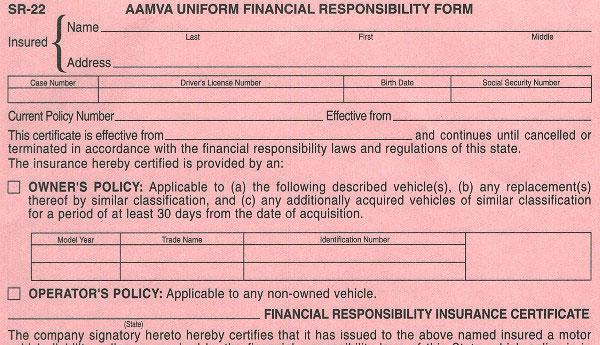SR-22 Form, SR22 Form Insurance